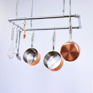 chrome ceiling pot and pan rack hanging suspended industrial minimal contemporary kitchen storage solution