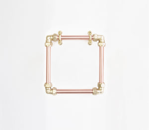 copper brass minimal industrial tower holder ring square stylish handmade in uk