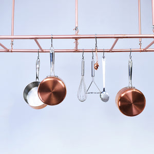 Copper Ceiling Pot and Pan Ladder Rack - Proper Copper Design