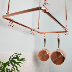 copper hanging ceiling pot and pan rack industrial minimal contemporary