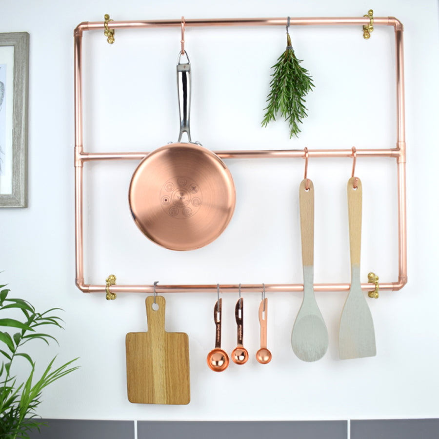 Copper Pot and Pan Rack - Wall Mounted - Proper Copper Design