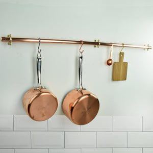 Wall Mounted Copper Pot and Pan Rail - 22mm - Proper Copper Design