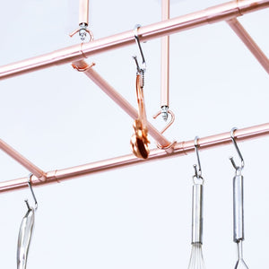 Copper and Chrome S Hooks - Copper and Chrome Pot and Pan Storage Solutions