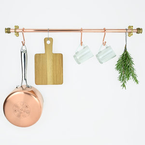 Wall Mounted Copper and Brass Pot and Pan Rail - 15mm - Proper Copper Design