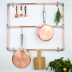Copper and Chrome Wall Mounted Pot and Pan Rack Industrial Contemporary Kitchen Storage