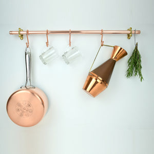 Proper Copper Design Pot and Pan Rail Kitchen Storage
