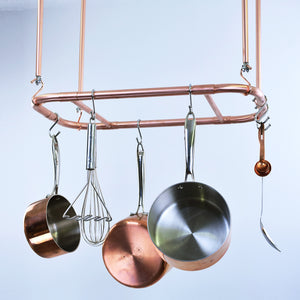 curved kitchen hanging suspended ceiling pot and pan rack