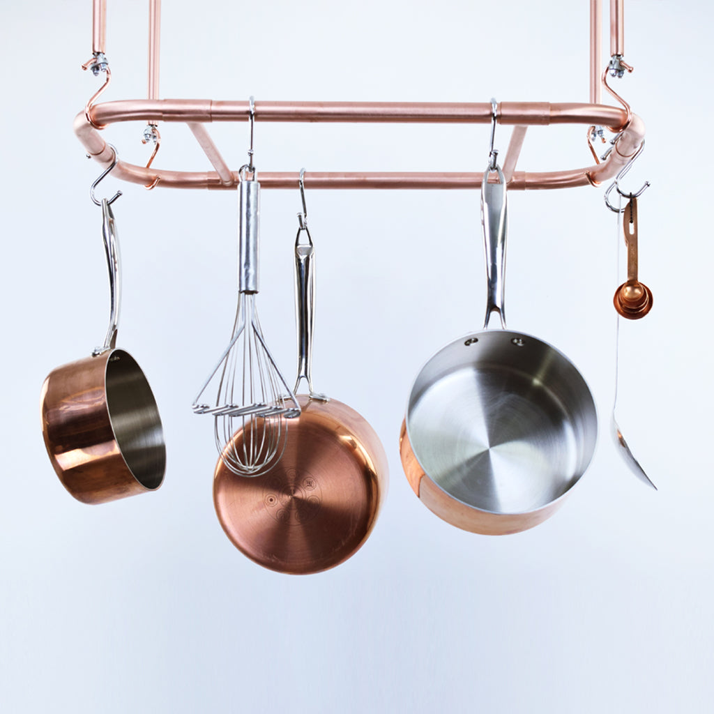 Curved Copper Ceiling Pot and Pan Rack