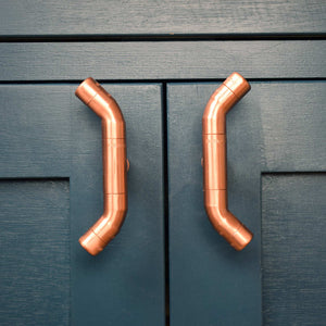 Copper Accent Handle _ blue kitchen cabinets