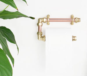 copper and brass warm industrial toilet roll holder proper copper design