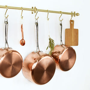 Wall Mounted Solid Brass Pan Rail - 15mm - Proper Copper Design