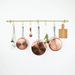 brass-pots-pans-brass pots and pans-kitchen-storage-kitchen storage-kitchen storage solutions-brass storage-brass rod-kitchen brass-copper and brass-pots and pans-clothes storage-pan rails