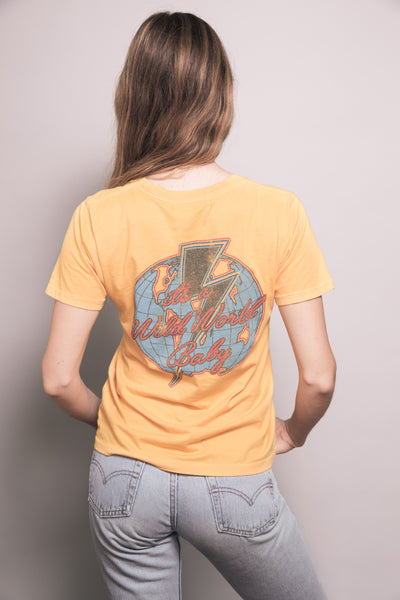 1980's style Retro Yellow FEATHER HEARTS on the Prowl Vintage Graphic Tee