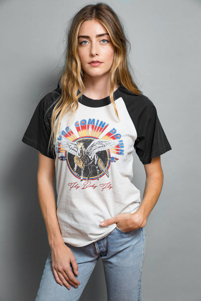 70'S Rock Womens vintage retro Style Feather Hearts graphic baseball tee ringer