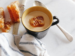 Coffee Panna Cotta with fresh honeycomb - by Eleanor Ozich