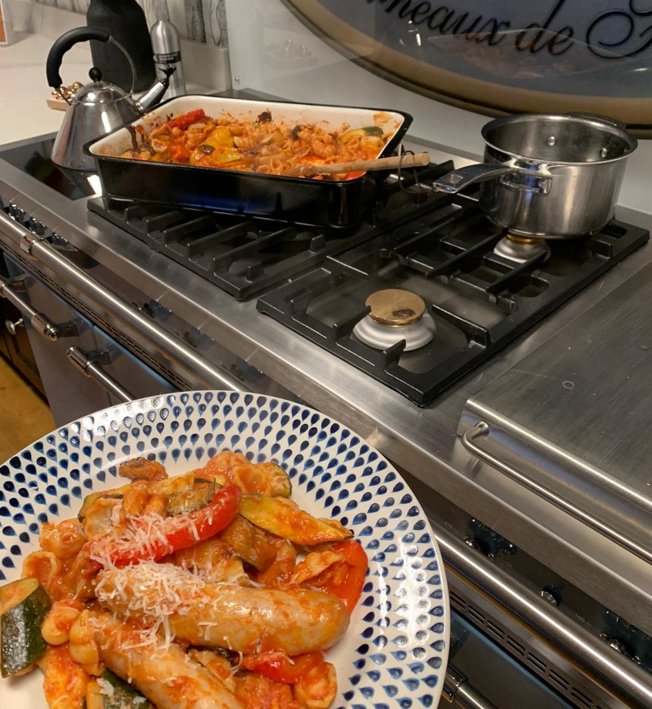 Cooking with Sophie: baked veg & sausage pasta
