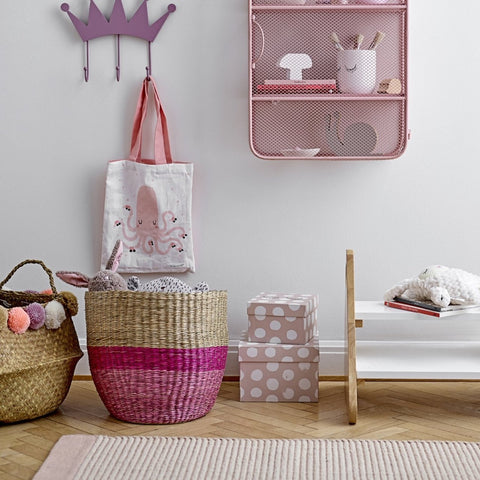 Bloomingville Seagrass Basket Pink