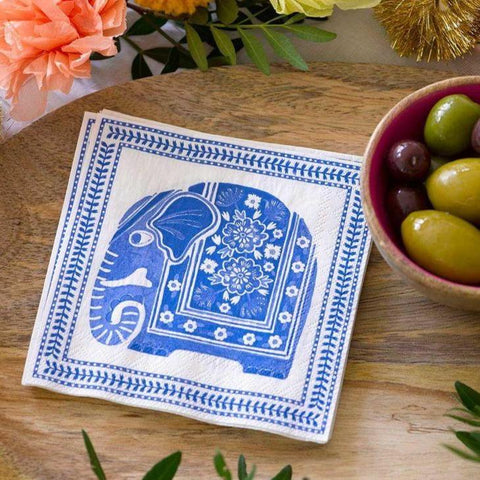 Blue and white patterned picnic napkins with elephant motif