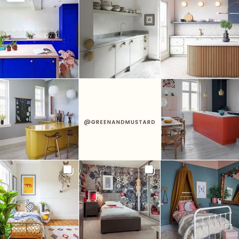Green and Mustard's interior design Instagram feed with a central square with text that reads @greenandmustard