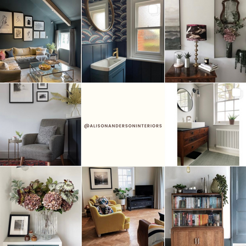 Alison Anderson's interior design Instagram feed with a central square that reads @alisonandersoninteriors