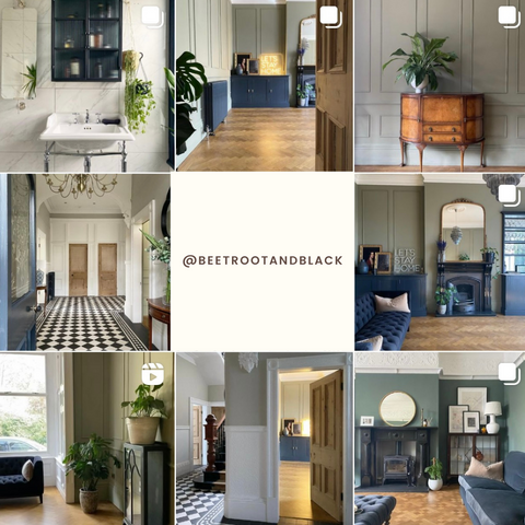 screenshot of beetroot and black interior instagram feed with centre square that reads @beetrootandblack