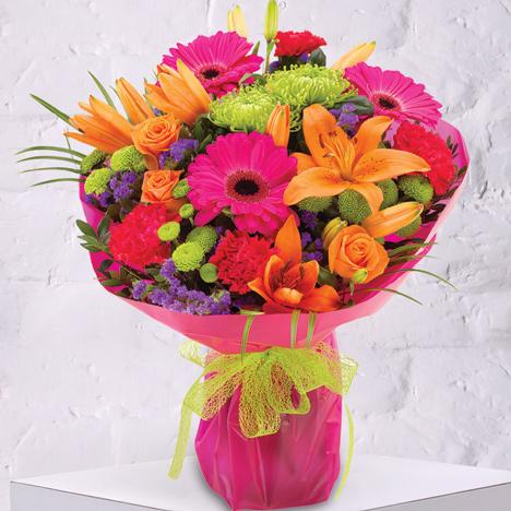 bright colourful bouquet of flowers