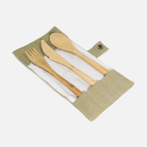 Bamboo cutlery set in a travel pouch