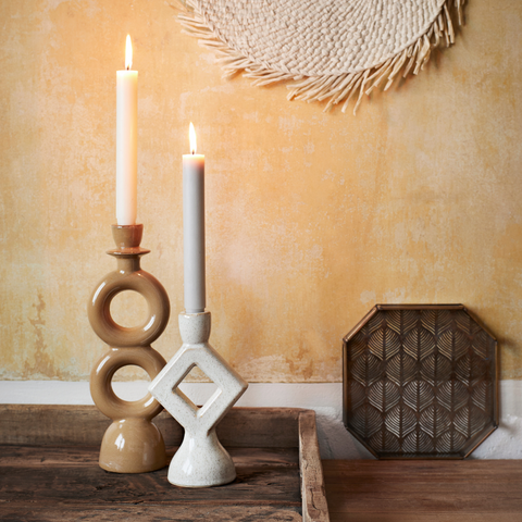 geometric shape stoneware candle holders from Quince & Cook