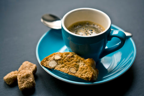 espresso and half of a cookie