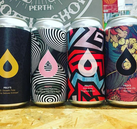 craft beer tins in a row