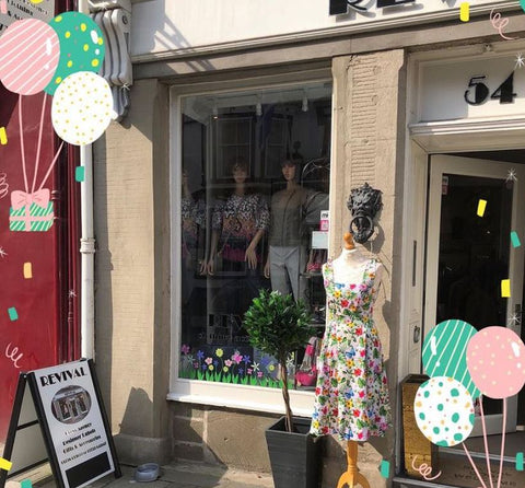 shop front of fashion store Revival 54 in Perthshire Scotland