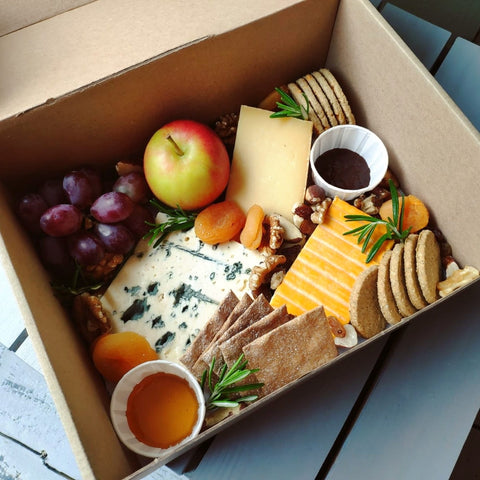 deli sharing box with cheese, crackers and fruit from the cheese byre in perth scotland