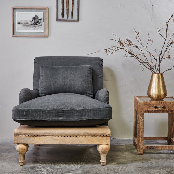 Abe Linen Chair - Charcoal