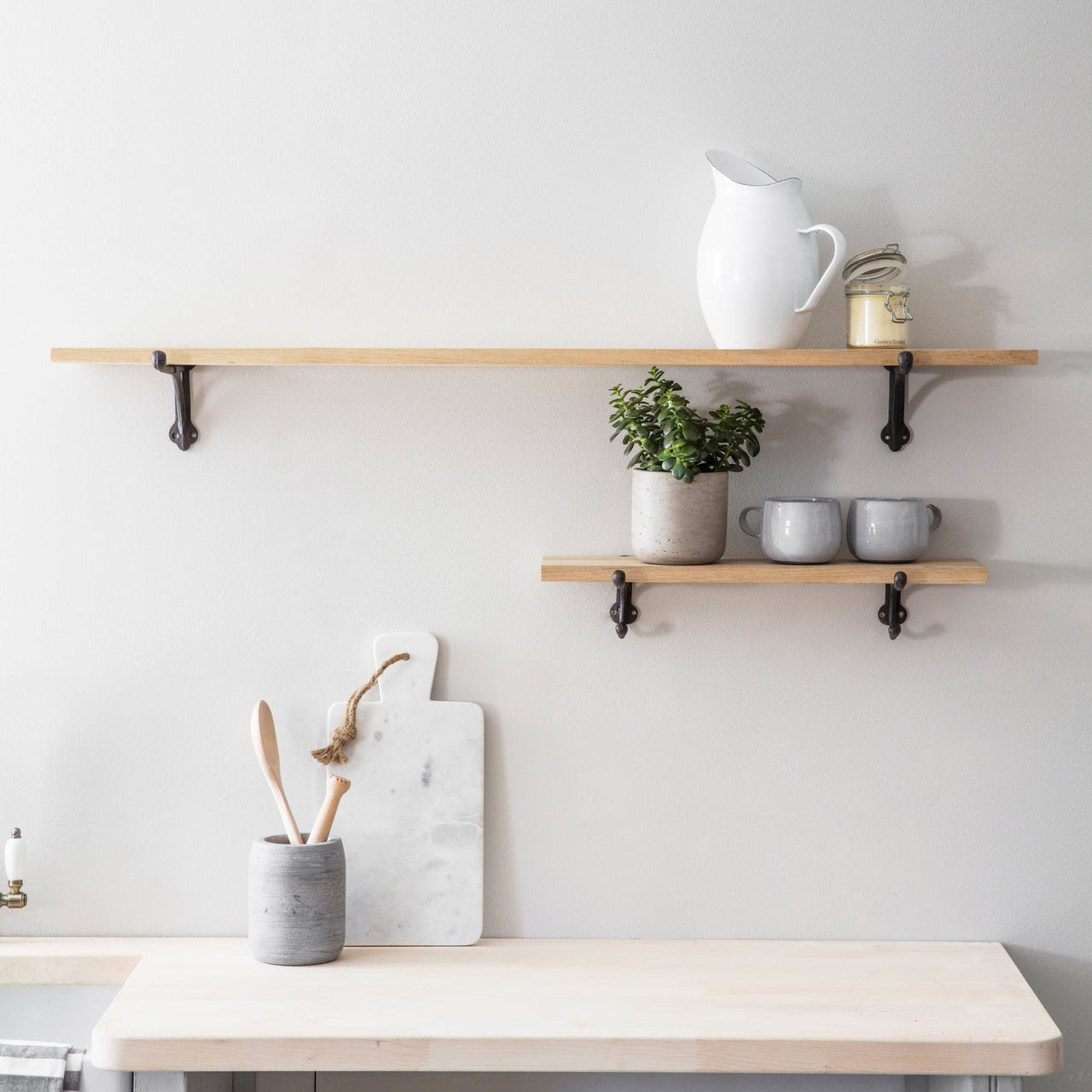 Oak Cast Iron Bracket Shelf