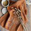 Rust Linen Embroidered Tea Towel