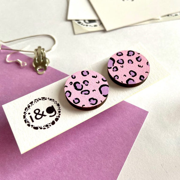 Pink & Purple Leopard Earrings