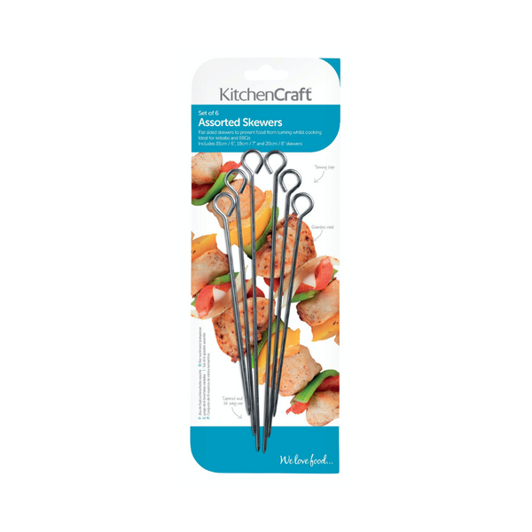 Pack of 6 Assorted Size Skewers