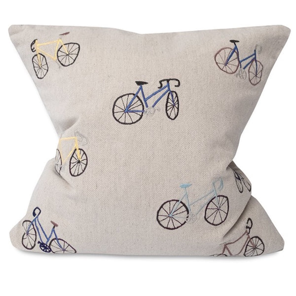 Embroidered Bicycles Linen Cushion with Inner