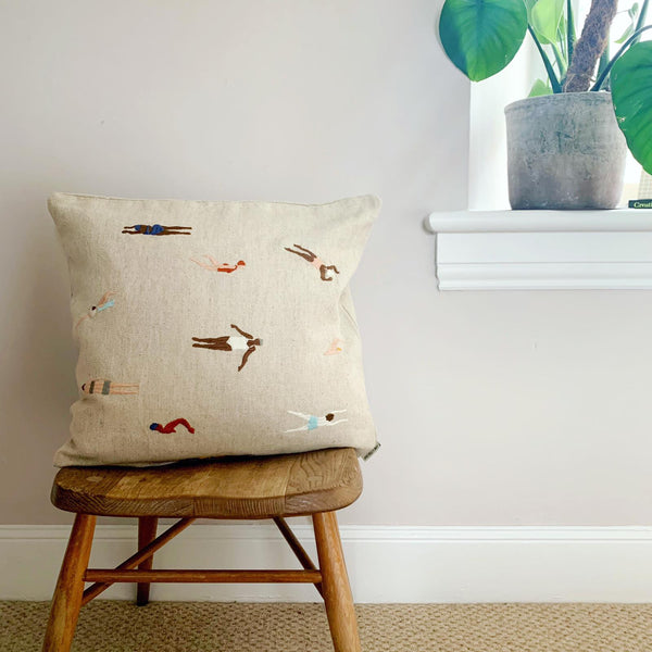 Embroidered Swimmers Linen Cushion with Inner
