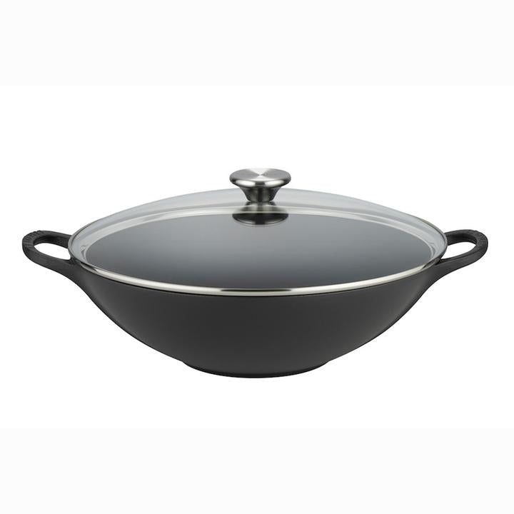 Le Creuset Cast Iron Wok with Traditional Glass Lid - Satin Black