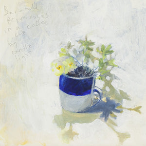 Barnhill primroses in a coffee cup Greeting Card.