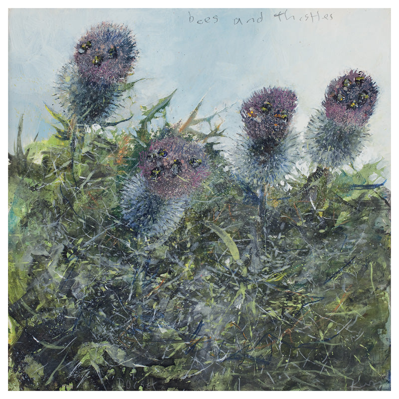 Bees and thistles. Greeting Card. Pack of 4.