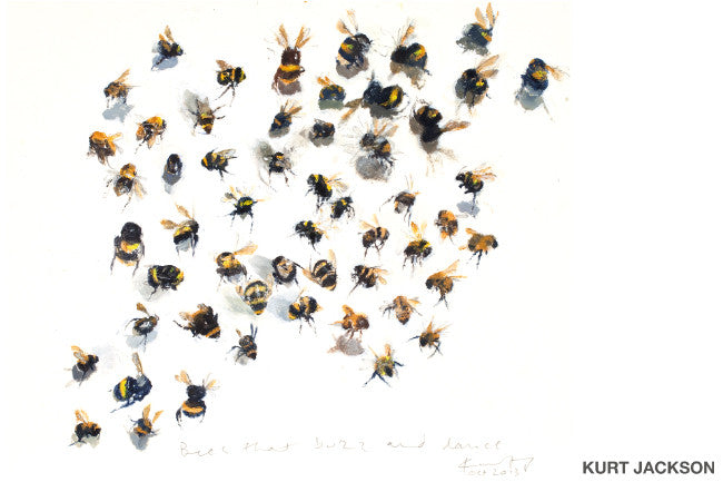 Bees that buzz and dance. Postcard.