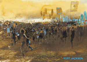 Glastonbury mud at sunset. Postcard. Pack of 10.