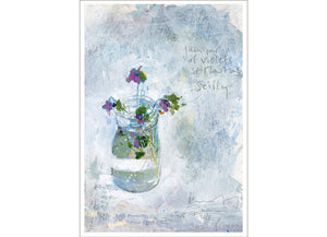 Jam jar of violets, St Martins. 2018. Christmas/Greeting Card. Pack of 4.