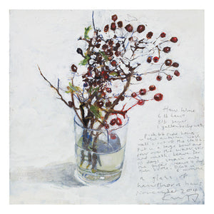 A glass of hawthorn haws. Christmas/Greeting Card.