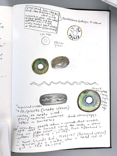 Kurt Jackson's Sketchbook study of the original adder beads at Penlee House and Museum. (NOT INCLUDED.)