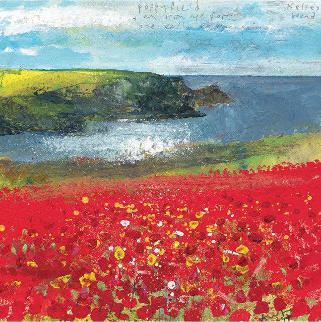 Poppy field and an iron age fort. 2019. Greeting Card. Pack of 4.