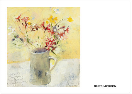 Jug of campion, buttercup and cuckoo flower. Postcard. Pack of 10.