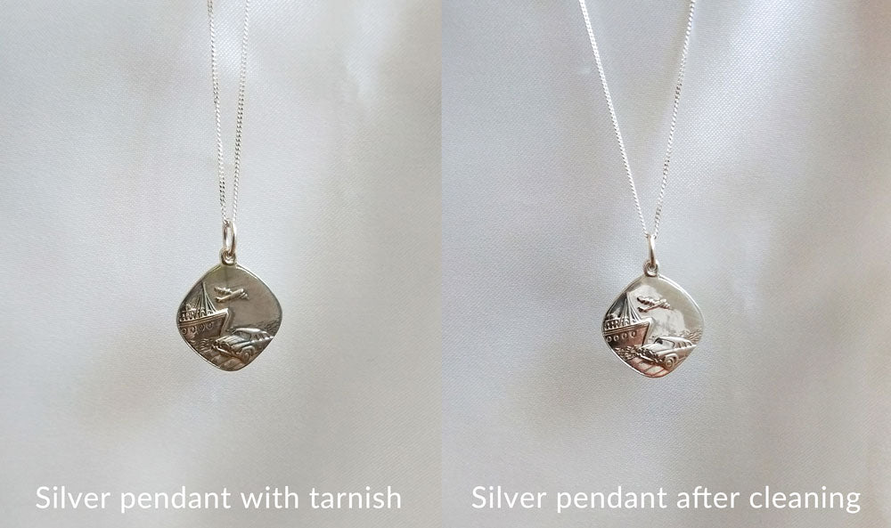 a11cfdbc7 If there is quite a lot of tarnish, you can use a silver cleaner to wash  your piece. Or you can try this DIY method.